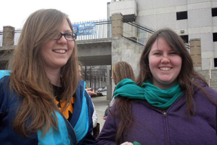 Katie and Michelle waiting with the youth group outside the Bi-Lo Center in Greenville, SC to see some favorite Christian bands perform at Winterjam 2012.